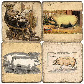Heirloom Pigs Coaster Set