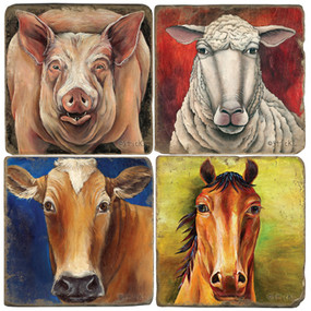 Sticks Farm Animal Coaster Set