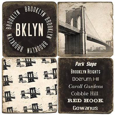 Brooklyn New York Coaster Set. Handmade Marble Giftware by Studio Vertu.