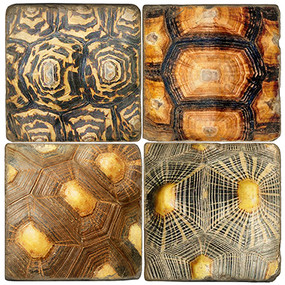 Tortoise Shell Pattern Coaster Set. Handcrafted Marble Giftware by Studio Vertu.