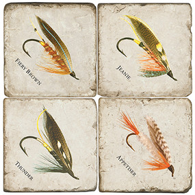 Fishing Lure Coaster Set. Handcrafted Marble Giftware by Studio Vertu.