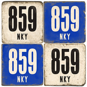 Kentucky Area Code 859 Coaster Set.  Handmade Marble Giftware by Studio Vertu.