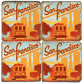 San Francisco Coasters.  Tumbled Italian Marble Giftware by Studio Vertu.