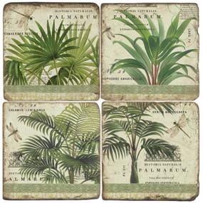 Vintage Palms Coaster Set. Handmade Marble Giftware by Studio Vertu.