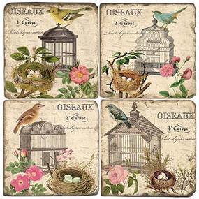 Vintage Bird Cages Coaster Set