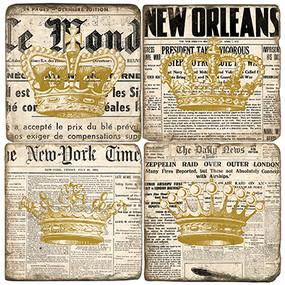 Gold Crowns on Newsprint Coaster Set