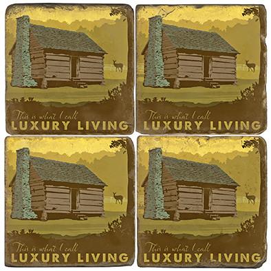 Log Cabin Coaster Set.  Illustration by Anderson Design Group.