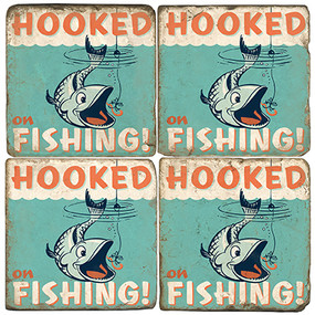 Fishing Themed Coaster Set.  Illustration by Anderson Design Group.