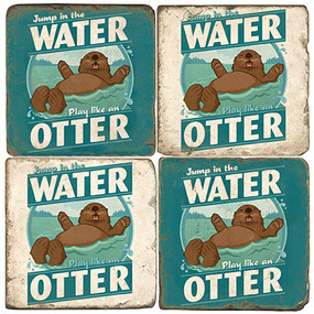 Playful Otter Coaster Set.  Illustration by Anderson Design Group.
