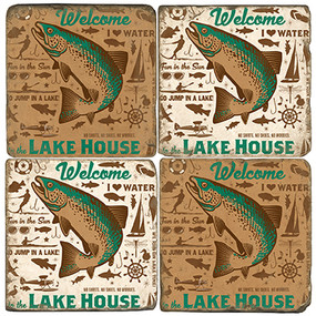Lake House Themed Coaster Set.  Illustration by Anderson Design Group.