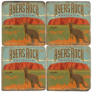 Ayers Rock, Australia Coaster Set. Illustration by Anderson Design Group.