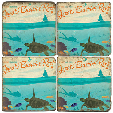 Great Barrier Reef Coaster Set.  Illustration by Anderson Design Group.