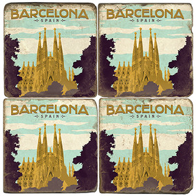 Barcelona, Spain Cathedral Coaster Set.  Illustration by Anderson Design Group.