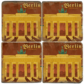 Berlin, Germany Brandenburg Gate Coaster Set.  Illustration by Anderson Design Group.