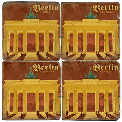 Berlin, Germany Brandenburg Gate Coaster Set.  Illustration by Anderson Design Group.