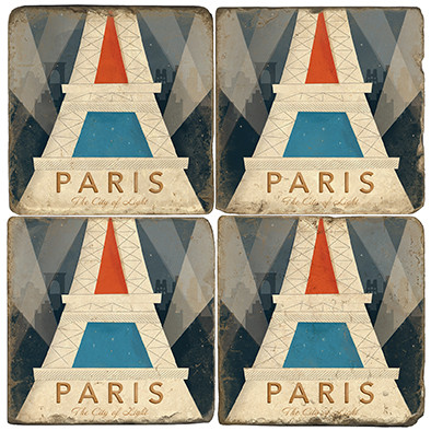 Paris, France Coaster Set.  Illustration by Anderson Design Group. Handmade Marble Giftware by Studio Vertu.