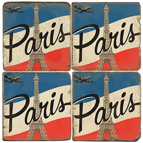 Paris, France Flag Coaster Set. Illustration by Anderson Design Group. Handmade Marble Giftware by Studio Vertu.