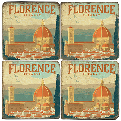Florence, Italy Coaster Set. Illustration by Anderson Design Group. Handmade Marble Giftware by Studio Vertu.