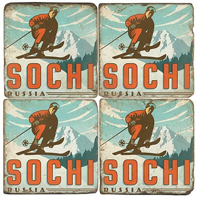 Sochi, Russia Ski Coaster Set. Illustration by Anderson Design Group.