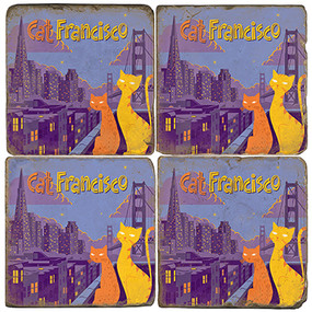 Cat Francisco Coaster Set. License artwork by Anderson Design Group.