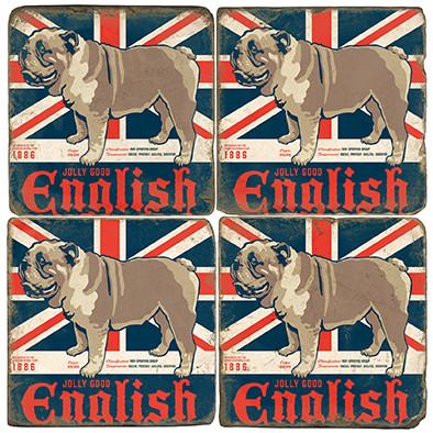 English Bulldog Coaster Set. License artwork by Anderson Design Group.
