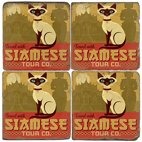 Siamese Cat Coaster Set. License artwork by Anderson Design Group.