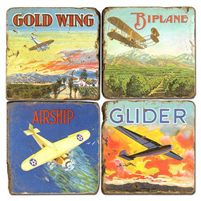 Vintage Airplane Coaster Set.