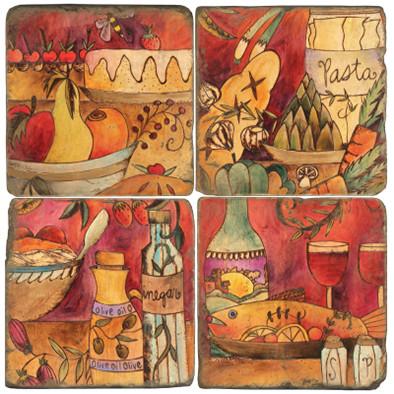 Color Food Coaster Set. License artwork by STICKS.