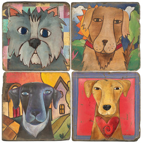 Love Dogs Coaster Set. Handcrafted Marble Giftware by Studio Vertu.
