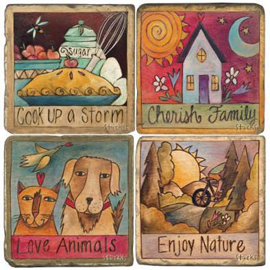 Quotes Coaster Set. License artwork by STICKS.
