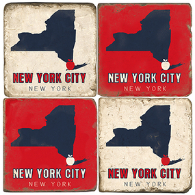 New York Coaster Set.  Tumbled Italian Marble.  Handmade in the USA.
