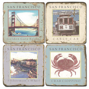 San Francisco Coaster Set.  Tumbled Italian Marble Giftware by Studio Vertu.