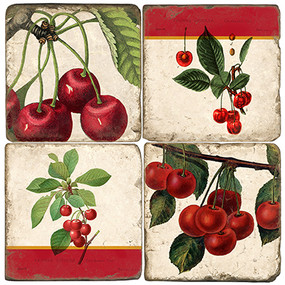 Cherry Botanical Coaster Set.  Tumbled Marble Giftware by Studio Vertu.
