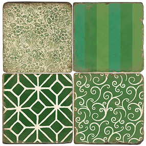Green Forever Coaster Set.  Tumbled Italian Giftware by Studio Vertu.