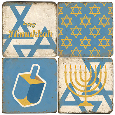 Hanukkah Themed Coaster Set.  Tumbled Italian Marble Giftware by Studio Vertu.