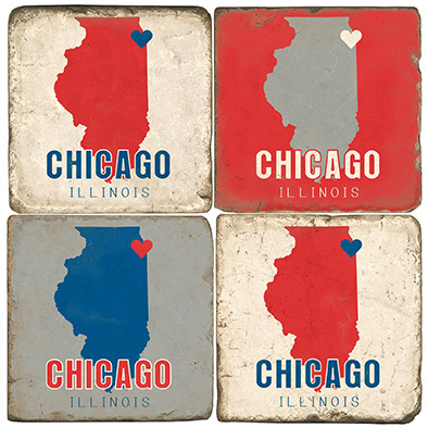 Chicago Coaster Set.  Tumbled Italian Marble Handprinted by Studio Vertu.