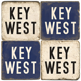 Key West Coaster Set. Tumbled Italian Marble Giftware.  Handmade by Studio Vertu.