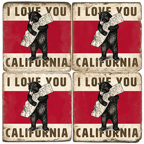 California Bear Coaster Set.  Handcrafted Marble Giftware by Studio Vertu.