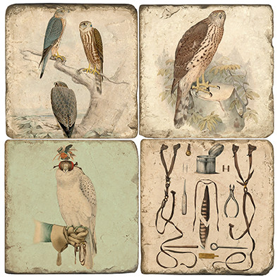 Falconry Coaster Set.  Tumbled Italian Marble Giftware by Studio Vertu.