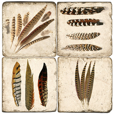 Pheasant Feathers Coaster Set.  Tumbled Italian Marble Giftware by Studio Vertu.
