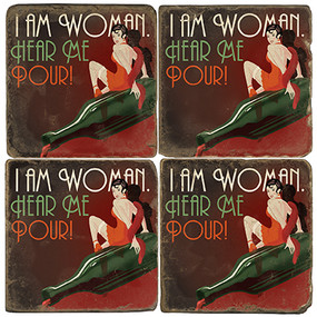 I am Woman Coaster Set. License artwork by Anderson Design Group. Tumbled Italian Marble Giftware by Studio Vertu.