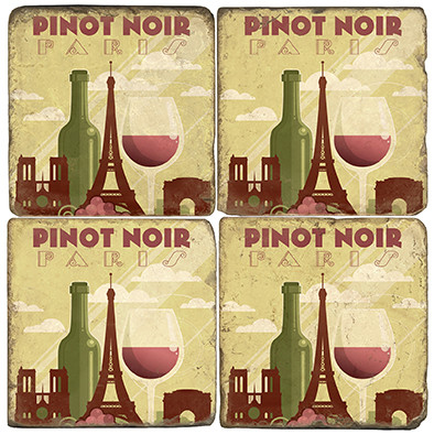 Pinot Noir Coaster Set. License artwork by Anderson Design Group. Tumbled Italian Marble Giftware by Studio Vertu.