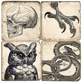 B&W Halloween Coaster Set.  Handcrafted Marble Giftware by Studio Vertu.