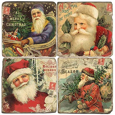 Vintage Santa Coaster Set.  Hand Made Marble Giftware by Studio Vertu.