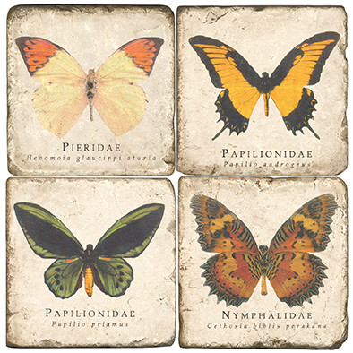 Colorful Butterfly Coaster Set. Handcrafted Marble Giftware by Studio Vertu.