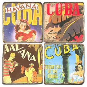 Vintage Cuba Inspired Coaster Set. Hand Made Marble Giftware by Studio Vertu.