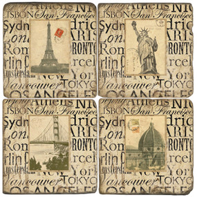 World Cities Coaster Set. Hand Made Marble Giftware by Studio Vertu.
