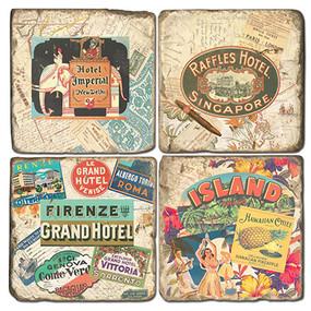 Vintage Travel Coaster Set.  Handmade Marble Giftware by Studio Vertu.