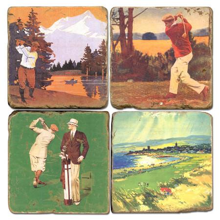 Vintage Illustrated Golf Coaster Set. Handmade Marble Giftware by Studio Vertu.