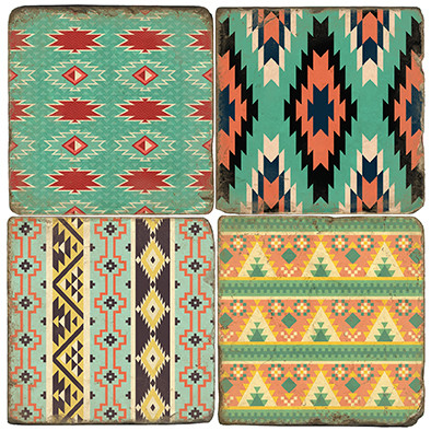 Colorful Aztec Patterns Coaster Set. Hand Made Marble Giftware by Studio Vertu.